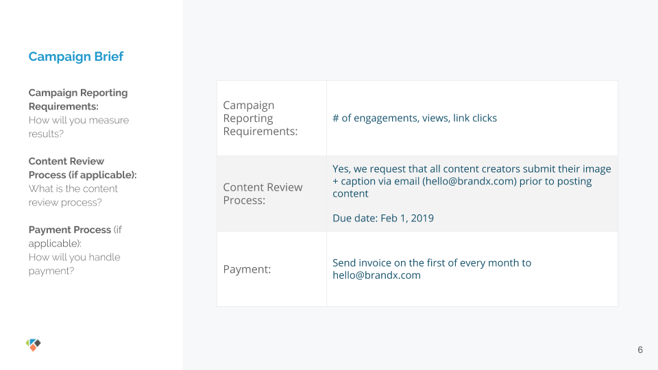 Influencer Marketing Brief Template 2019